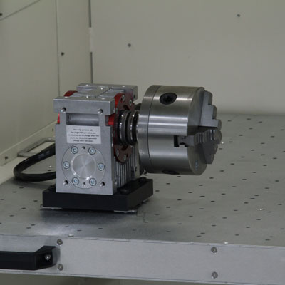 "3 Jaw Chuck Rotary Axis with Center, 4"" Diameter Capacity, Adjustable Center"